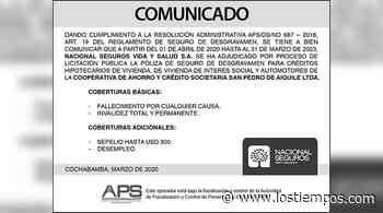 Nacional Seguros Vida y Salud S.A. - San Pedro de Aiquile - Los Tiempos