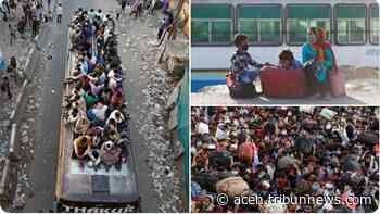 Ribuan Buruh Tinggalkan New Delhi, Berjalan Kaki Ratusan Mil, Tetap Berjalan Meski Tak Yakin Rutenya - Serambi Indonesia