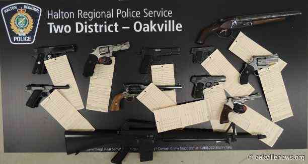 69 Firearms seized after the arrest of a man in Oakville