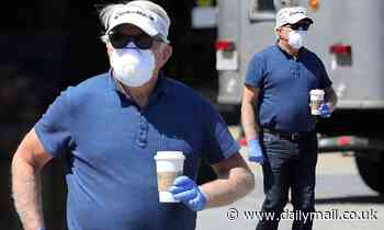 Martin Sheen, 79, wears a protective face mask and gloves as he steps out for coffee during lockdown - Daily Mail