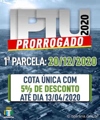 Santa Terezinha de Itaipu prorroga 1ª parcela do IPTU e ISSQN para 20/12/2020 - O Paraná