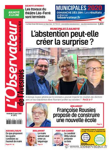 L'Observateur de l'Avesnois (édition Aulnoye-Aymeries) du vendredi 13 mars 2020 - L'Observateur