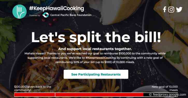 Central Pacific Bank Foundation is reimbursing you 50% of the cost of your takeout