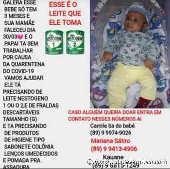 Picos: Após morte da mãe, campanha arrecada fraldas e leite para criança de três meses - Cidades em Foco