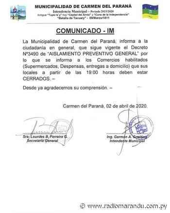 Carmen Del Parana. cierre total de comercios a partir de las 19 Hs. - radiomarandu.com.py