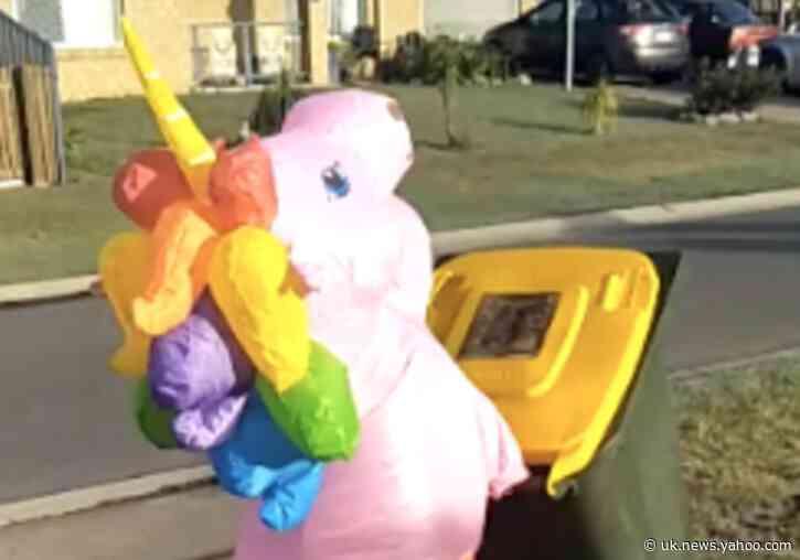 Queensland Resident Puts Bins Out in Unicorn Costume During COVID-19 Lockdown