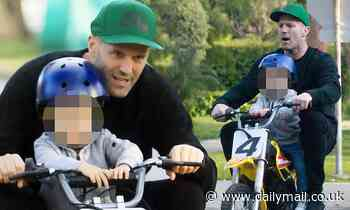 Fast and Furious actor Jason Statham takes son Jack on a mini motorbike ride - Daily Mail