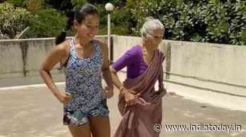 Milind Soman's mother works out with Ankita Konwar on terrace in saree. Seen viral video yet? - India Today