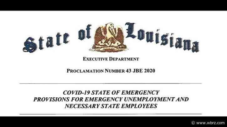 Gov. John Bel Edwards signs emergency unemployment proclamation