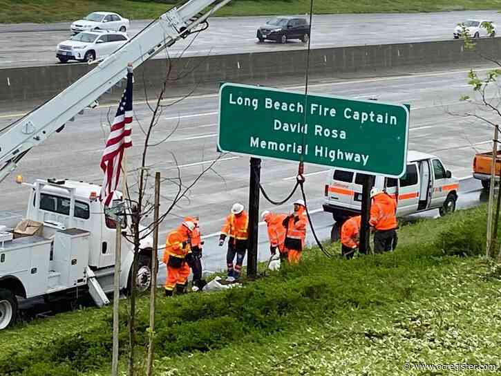 Long Beach Fire Captain David Rosa memorialized on 5 Freeway in San Juan Capistrano