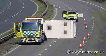 Caravan crash shuts M5 motorway as locals tell tourists to 'stay away'