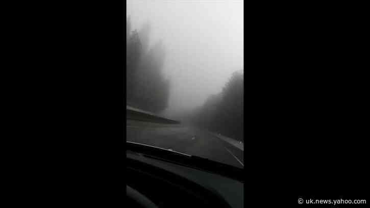 Highway Near Sacramento Shrouded in Fog