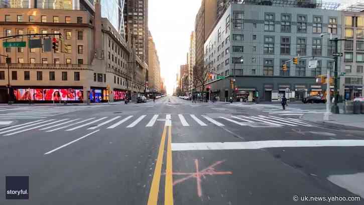 Skateboarder Cruises Through Empty Manhattan Streets as COVID-19 Lockdown Continues