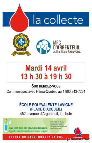 Blood drive today in Lachute - The Review Newspaper