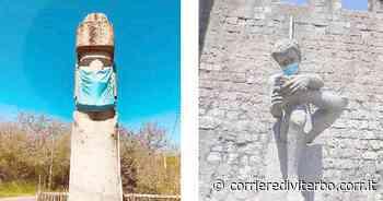 Anche il Moai e il Marzio di Vitorchiano testimonial per l'uso delle mascherine - Corriere di Viterbo