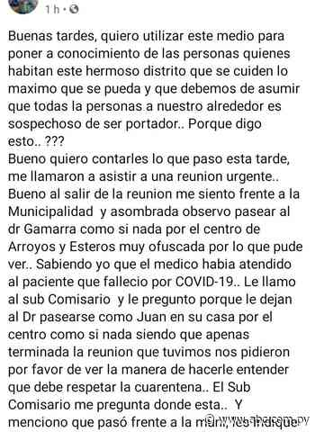 Indignación en Arroyos y Esteros contra médico por incumplimiento de cuarentena - Nacionales - ABC Color