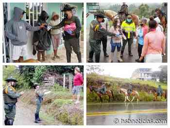 Habitantes de Piendamó recibieron tapabocas por parte de los Carabineros del Cauca [VIDEO]   HSB Noticias - HSB Noticias