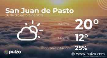 El clima para hoy en San Juan de Pasto, 26 de diciembre de 2019 - Pulzo