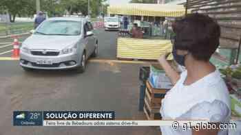 Com máscaras e desinfecção de carros, Bebedouro, SP, tem feira 'drive thru' no sambódromo - G1