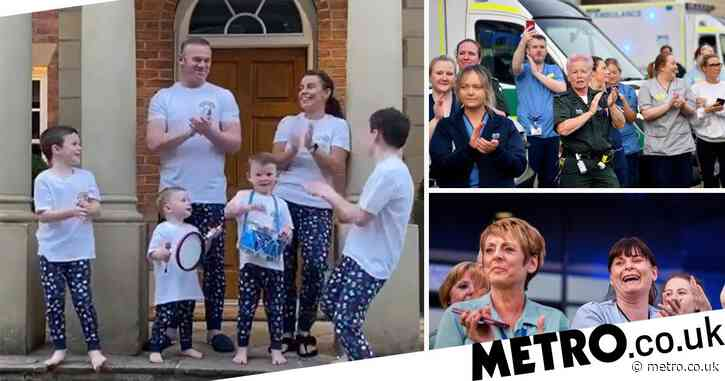 Coleen and Wayne Rooney and family clap for NHS heroes in matching pyjamas as boys bring out drums