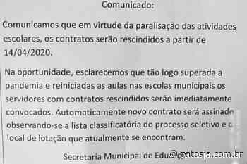 Professores da rede municipal de Lagoa Formosa têm contrato rescindido por causa do coronavírus - Patos Já