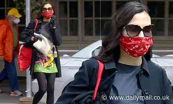 Famke Janssen pairs red face mask with Grateful Dead bear-print dress for NYC stroll - Daily Mail