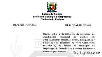 Decreto flexibiliza abertura de comércio em Itaporanga, na PB - G1