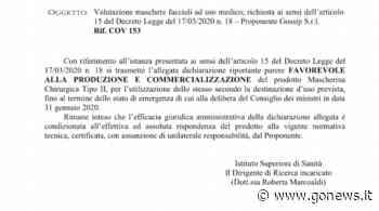 Castelfiorentino, Gossip Srl: dall'ISS l'ok a produrre e vendere mascherine di tipo 2 - gonews