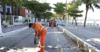 Guarujá inicia construção de nova ciclofaixa na Praia de Pitangueiras - A Tribuna