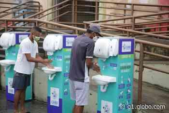 Pias móveis são instalados em áreas públicas no Cabo de Santo Agostinho, para que população higienize as mãos - G1
