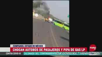 Chocan autobús de pasajeros y pipa de gas LP en Zumpango, Edomex - Noticieros Televisa