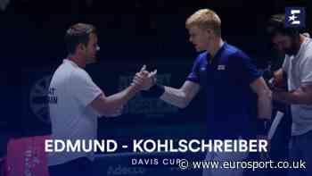 Davis Cup 2019 video - Highlights: Kyle Edmund storms past Philipp Kohlschreiber to give GB lead - Eurosport.co.uk