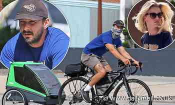 Shia LaBeouf buys a child trailer for bike as Mia Goth does some gardening at his new Pasadena house - Daily Mail