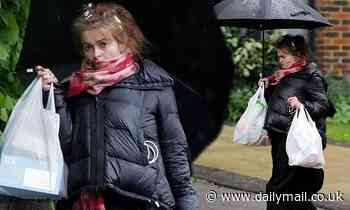 Helena Bonham Carter, 53, wraps up warm in a padded jacket - Daily Mail