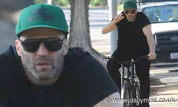 Fast & Furious star Jason Statham swaps four wheels for two as he heads on a bike ride in La - Daily Mail