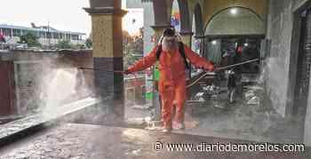 Desinfectan el centro de la cabecera de Tepalcingo - Diario de Morelos