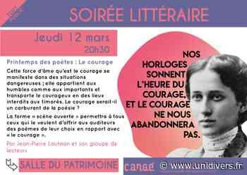 Soirée littéraire Médiathèque de Cangé Saint-Avertin 12 mars 2020 - Unidivers