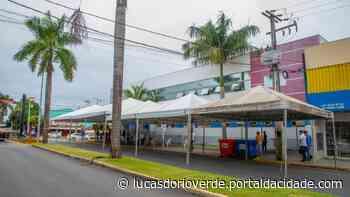 Com demanda por Auxílio, bebedouro e tendas são instalados em frente à Caixa - ® Portal da Cidade   Lucas do Rio Verde