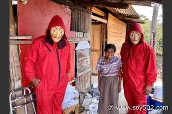 """Se disfrazan de """"La Casa de Papel"""" y reparten víveres en Salamá - Soy502"""