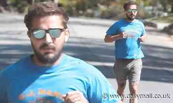 Shia LaBeouf flashes his wedding band from on-again wife Mia Goth as he jogs in Pasadena - Daily Mail
