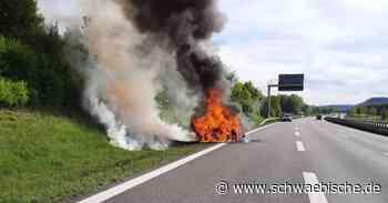 Fahrzeugbrand auf der A96 bei Aitrach - Schwäbische