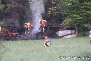 Holzstapel in Waldstück bei Karlsbad gerät in Flammen: - Bildergalerien - Pforzheimer-Zeitung - Pforzheimer Zeitung