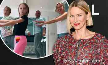 Naomi Watts and ex Liev Schreiber do a fun TikTok dance challenge with their sons while in lockdown - Daily Mail