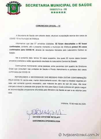 Imbituva confirma cinco novos casos de coronavírus nesta quarta-feira (13) - Hoje Centro Sul