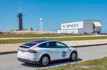 Astronauts to ride NASA-adorned Tesla Model X to SpaceX launchpad