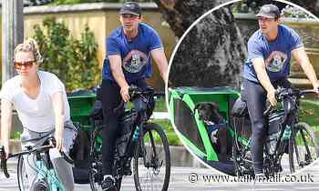 Shia LaBeouf and wife Mia Goth enjoy a bicycle ride after reuniting ahead of lockdown - Daily Mail