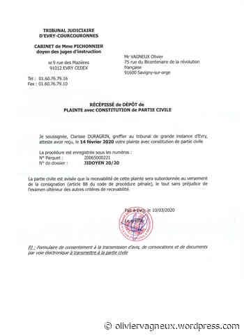 Municipales 2020 à Savigny-sur-Orge : la Justice accuse réception de ma plainte avec constitution de partie civile contre le corbeau - IPH Média