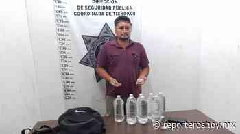 Detenido con botellas de bebidas alcohólicas sin etiqueta en Tixkokob - Reporteros Hoy