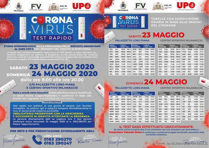 Borgosesia, 10 mila test sierologici per mappare il contagio da coronavirus nella popolazione maggiorenne - Quotidiano Piemontese