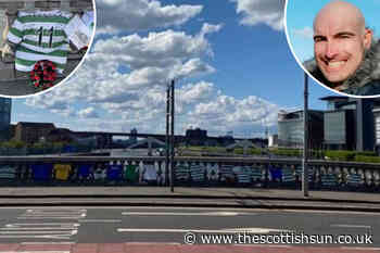 Celtic tops placed across Glasgow River Clyde bridge in tribute to Joseph Duffy after tragic death - The Scottish Sun